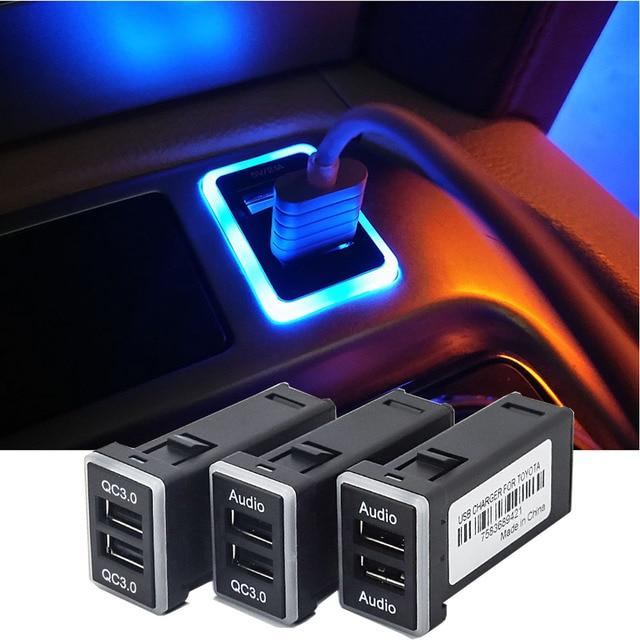 Samochód LED szybka ładowarka USB QC3.0 dla Toyota Camry Corolla Land Cruiser 200 Prado 150 Highlander CHR RAV4 Yaris Reiz akcesoria
