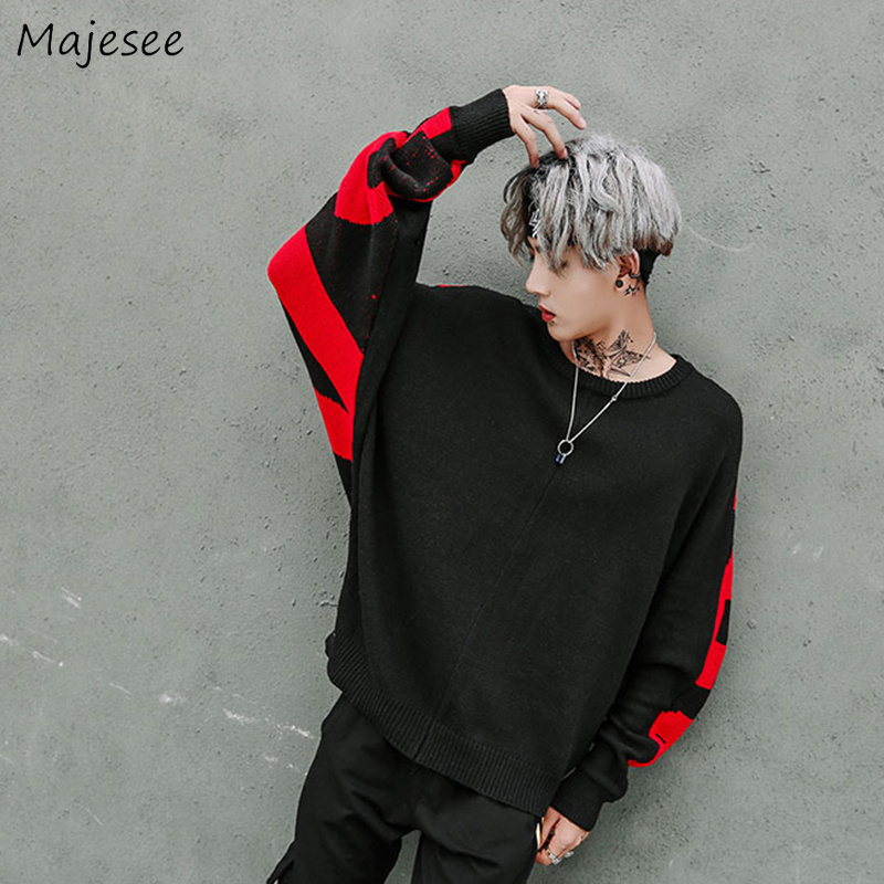 Sweaters Men O-Neck Printed Loose Simple All-match European Style Daily Soft Sweater Mens Bat Sleeve Hip Hop Knitting Clothing 2