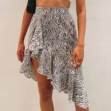 Semilength Skirts Womens Midi Dress Ins Zebra Print Dovetail Irregular Ruffled Stitching Striped Casual Summer Outfits 2021 New