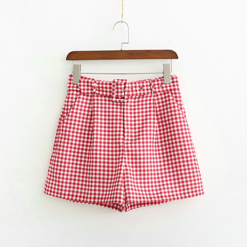 Women Red Plaid Shorts Sashes High Waist Pockets Female Office Ladies Shorts