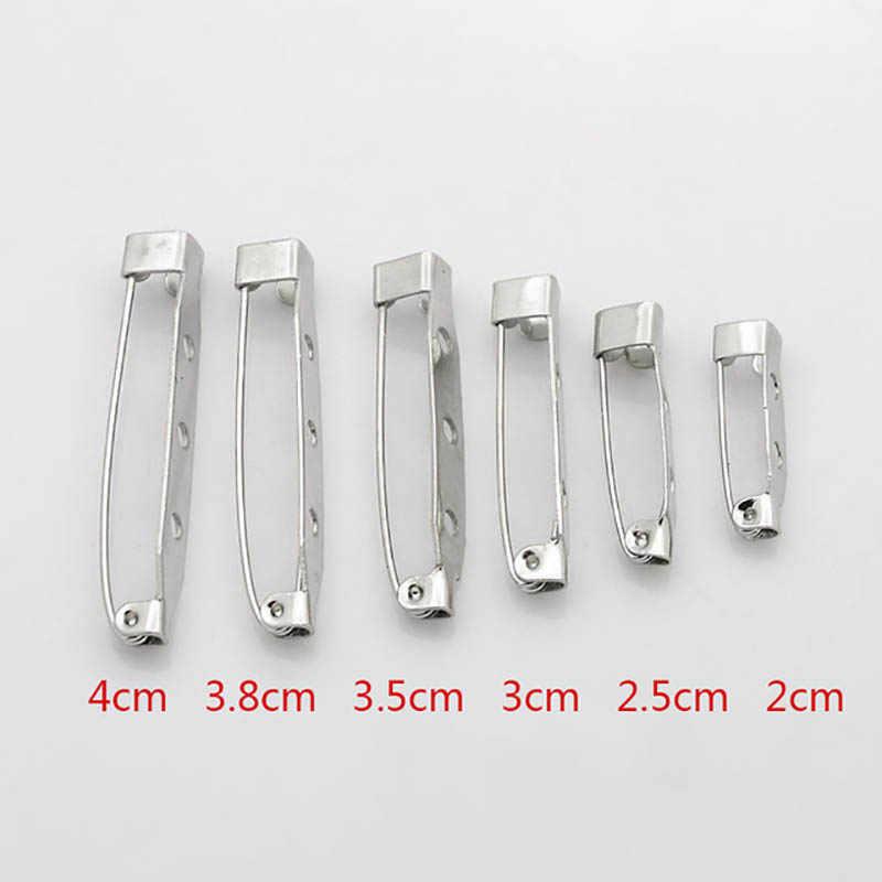 50Pcs Bros Dasar Kembali 15/20/25/32/38/40/45 Mm Pin bar Mudah Klip Pada/Kunci Aman Base Aksesoris untuk DIY Membuat Perhiasan