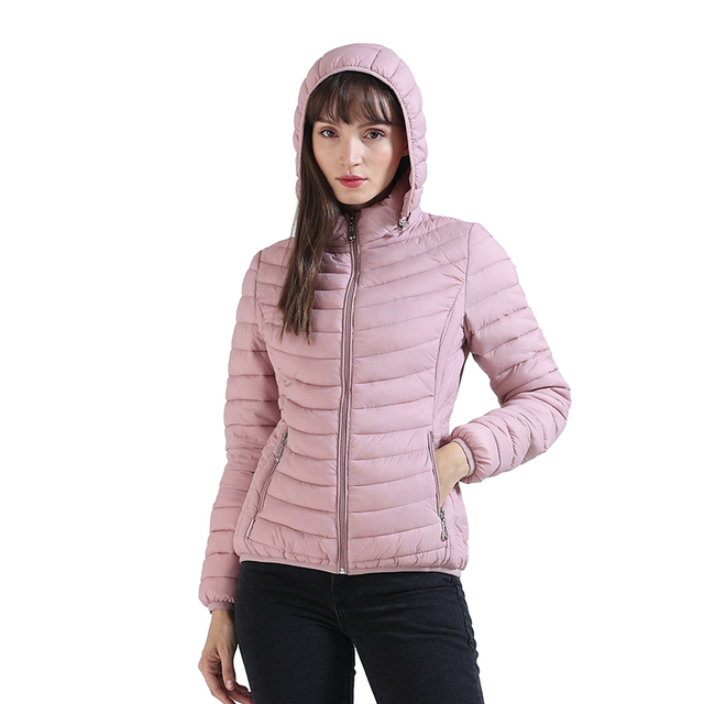 SANTELON Winter Women  Padded Jacket Slim Short Parka Outdoor Warm Clothes Portable Store In A Bag Ultralight Coat For Chile 4
