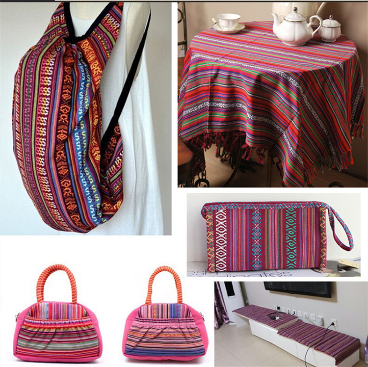 100x150cm Ethnic Style Cotton Linen Retro Bohemia Fabric DIY Handmade Textile Sewing Patchwork For Bags Clothes Sofa Table Cloth