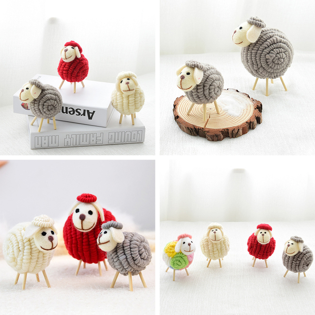 12 CM Innovative Wool Felt Cute Sheep Shape Children's Room Decoration Ornament Soft Toys Dolls Kawaii Sheep Alpaca Plush Toys 3