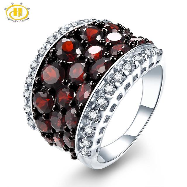 HUTANG العقيق خاتم الطبيعية توباز الصلبة 925 فضة خواتم الخطبة حجر أحمر كريم غرامة مجوهرات أنيقة للنساء