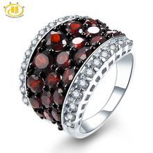 HUTANG Garnet Ring Natural Topaz Solid 925 Sterling Silver Engagement Rings Red Gemstone Fine Elegant Jewelry for Women