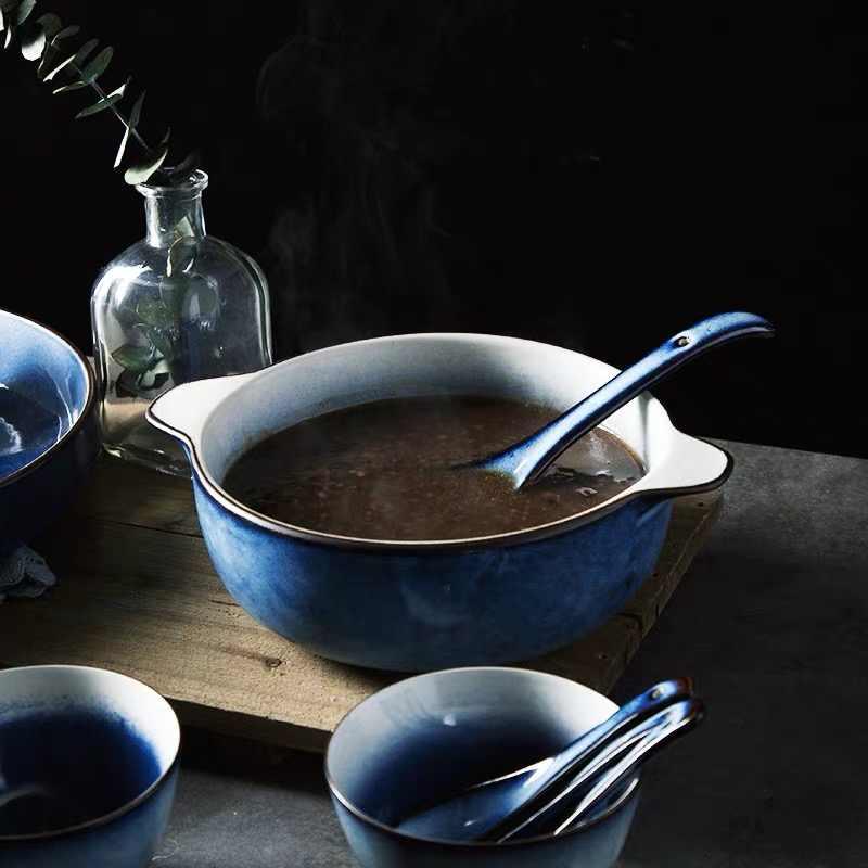 Antowall Huishoudelijke Keramiek Grote Blauwe Dikke Soepkom Nordic Stijl Chines Dubbele Oor Kom Goed Uitziende Soep Noedelkom Xing