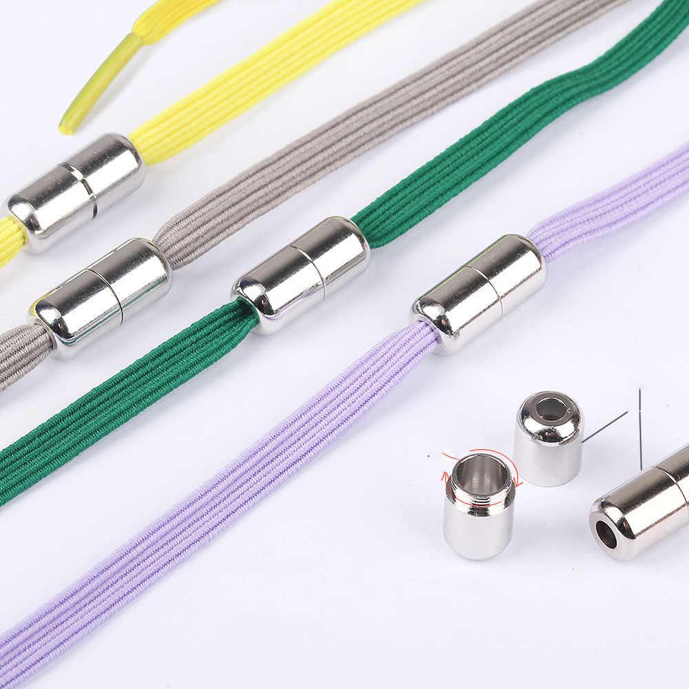 Nuevo cordón para perezosos, elástico sin cordones, cápsula de Metal combinable, cordón plano, elástico redondo para niños