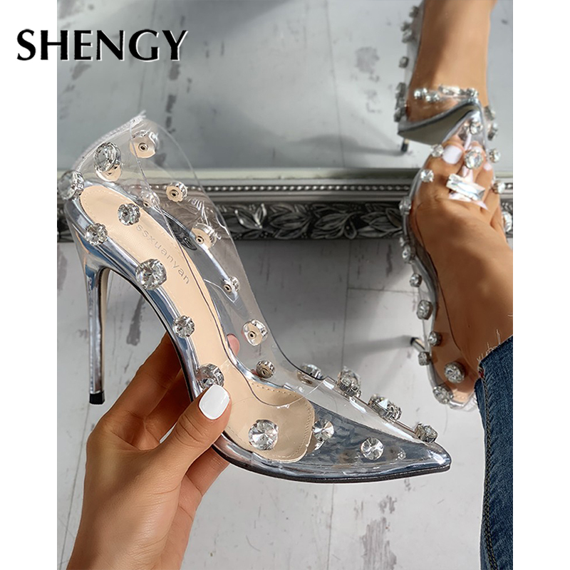 2020 Clear PVC Transparent Pumps Sandals Heel Stilettos High Heels Pointed Toes Womens Party Shoes Nightclub Party Pump