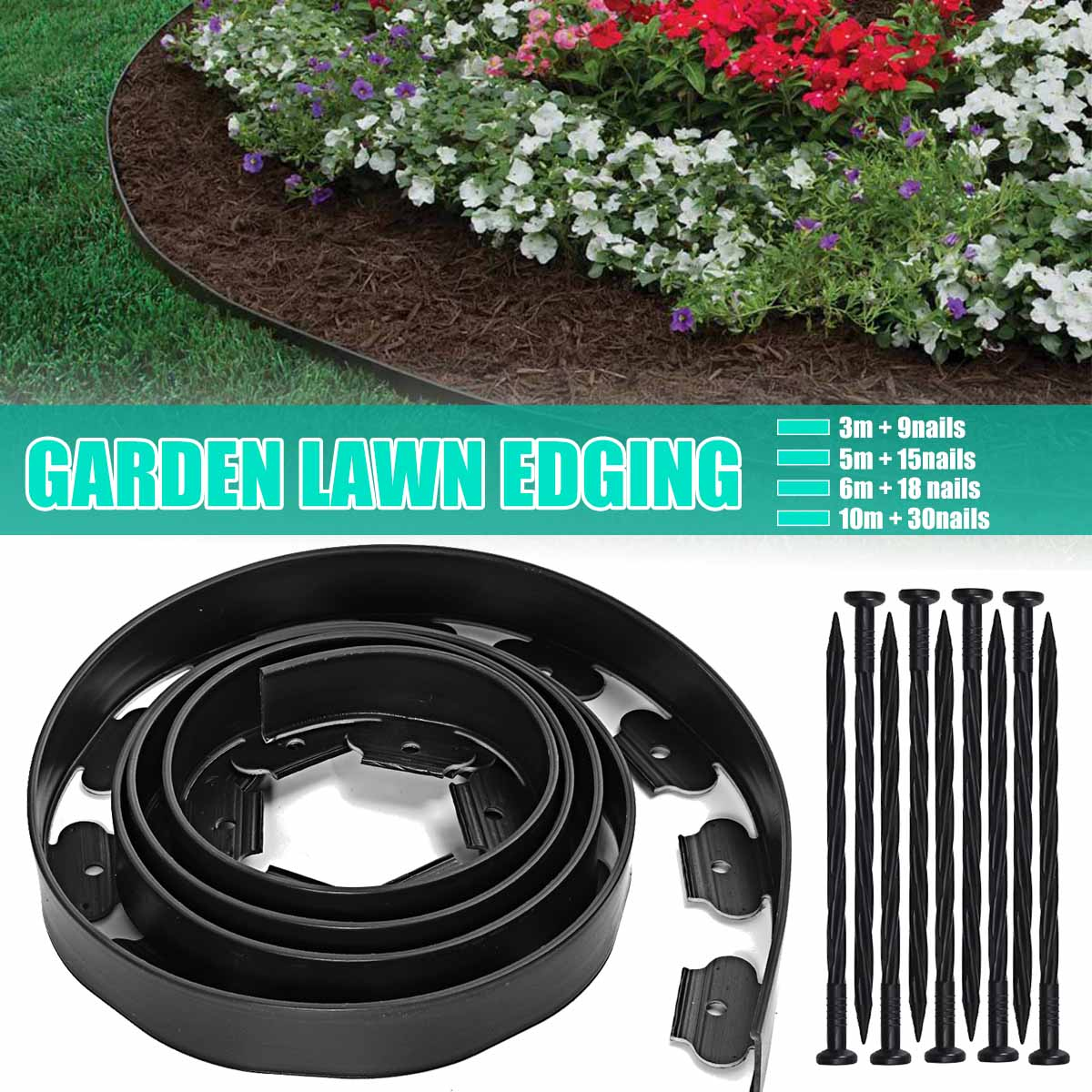 3 6m Garden Flexible Lawn Grass Plastic Edging Border Landscape Edging Easy Install Insert Black Green