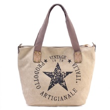 bags for women New European and American popular canvas printed five-pointed star large capacity handbag single shoulder bag