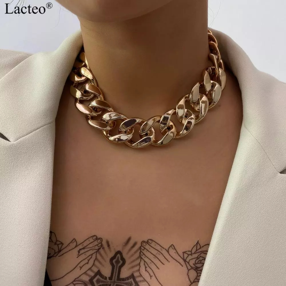 Lacteo Gothic Punk Golden CCB Chain Choker Necklace for Women Vintage Cross Chain Charm Necklace Jewelry Female Accessories Gift