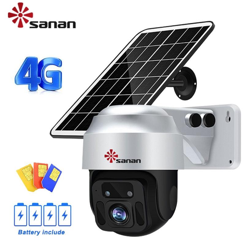 4G SIM Card PTZ Camera Outdoor Wireless 1080P Surveillance IP Cameras 6W Solar Panel Battery Powered PIR/Radar Alarm CCTV NoWifi