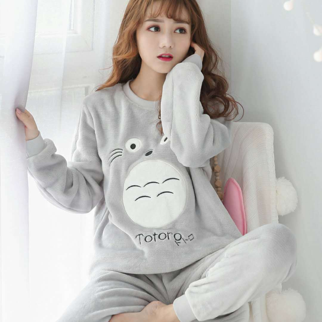 Autumn & Winter Women's Flannel Pajamas Long Sleeve Thick Large Size Coral Velvet Biscuit Bear Cute Homewear Set