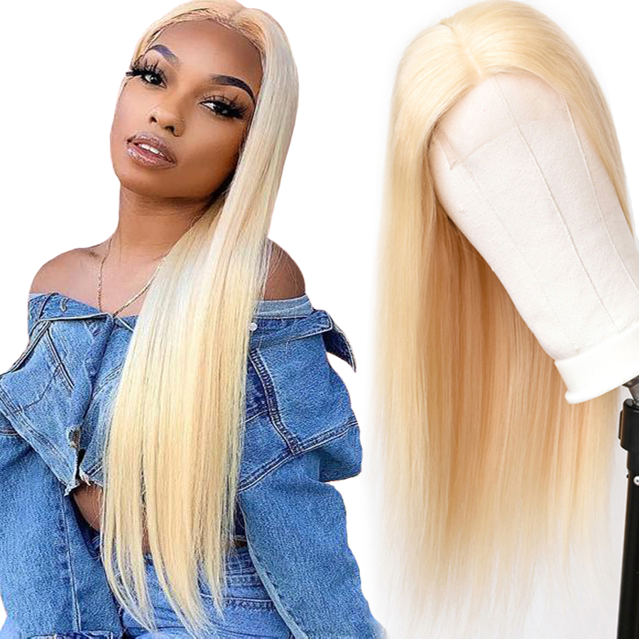 613 Blonde Human Hair Wigs 4x4 Closure Wig Lace Wig Blonde Human Hair Wigs 613 Honey Blonde Color Brazilian Straight Remy Hair