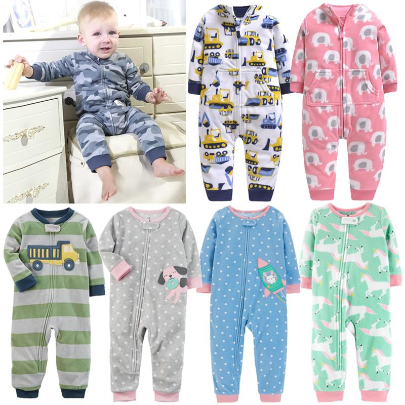 2019 Baby Clothes Bebes Jumpsuit Collar Fleece Newborn Pajamas Infants Baby Boys Clothes Toddler Boys Clothes Coveralls Outwear