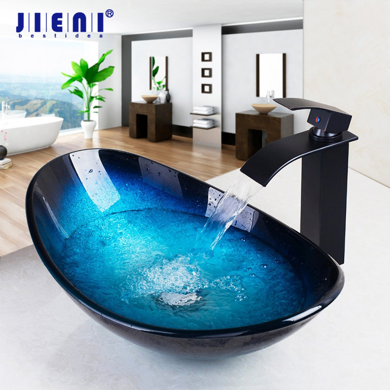 JIENI Tempered Glass Hand Painted Waterfall Spout Basin Black Tap Bathroom Sink Washbasin Bath Brass Set Faucet Mixer Taps Blue(China)