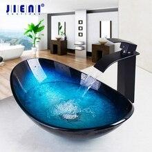 JIENI szkło hartowane ręcznie malowane wodospad wylewka umywalka czarny dotknij umywalka do łazienki umywalka wanna zestaw mosiężny bateria kranowa krany niebieski