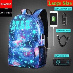 Image 2 - חדש נגד גנב תיק זוהר בית ספר לבנים בנות תלמיד בית הספר תרמיל המוצ ילה עם USB טעינת נמל מנעול ילקוט