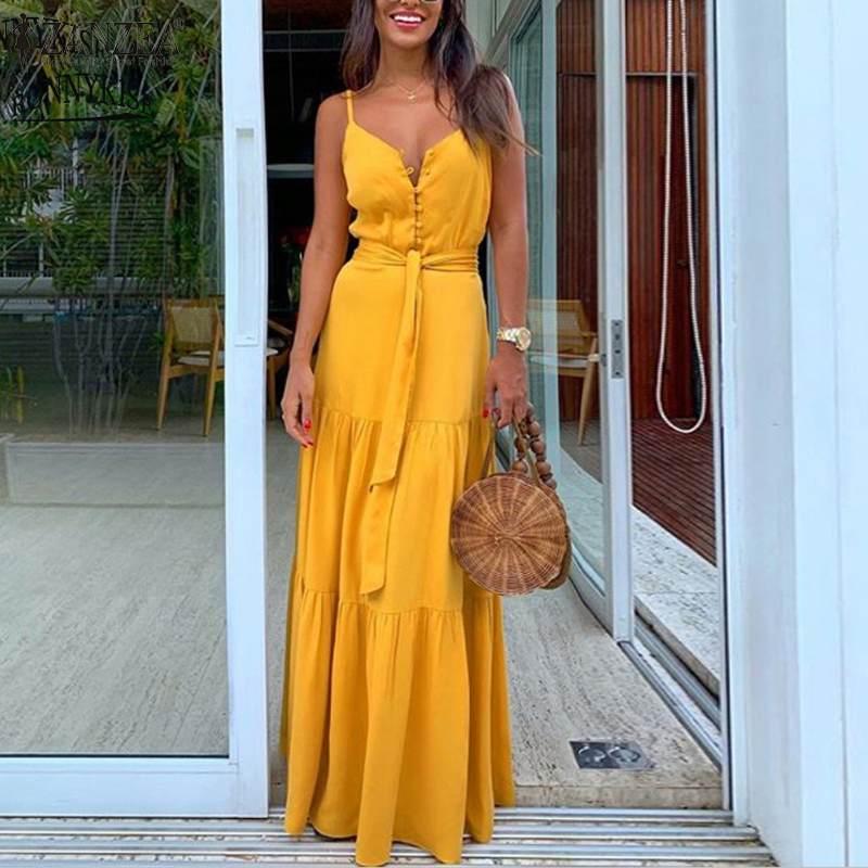 Women Solid Sundress ZANZEA 2020 Bohemian Summer Maxi Dress Spaghetti Strap Vestidos Female Button Casual Split Robe Plus Size 7