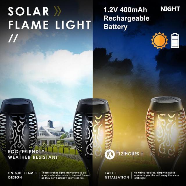 LED Solar Flame Light Lamp Flickering Waterproof Garden Decoration Landscape Lawn Lamp Path Lighting Torch Outdoor Spotlight 5