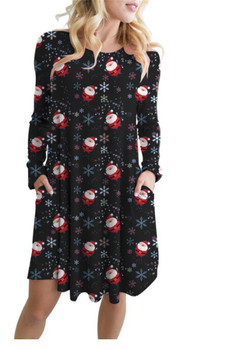 5XL Large Size Autumn Winter Christmas Dress New Year Family Party Dress Women Snowflake Print Long Sleeve A-line Dress Vestidos women christmas dresses plus size s 5xl long sleeve o neck loose print casual a line dress new year xmas party dress vestidos