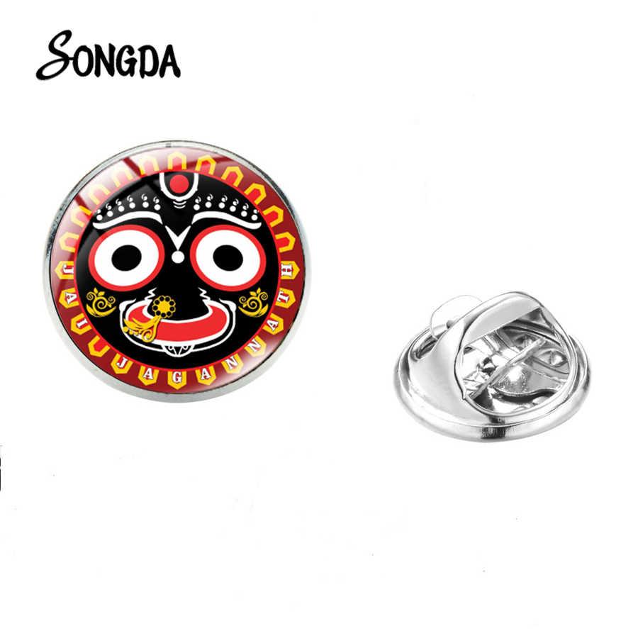 Tuhan Jagannath Bros Kaca Cabochon Seni Photoes Stainless Steel Pin Fashion Keyakinan Agama Perhiasan Pria Wanita Pakaian