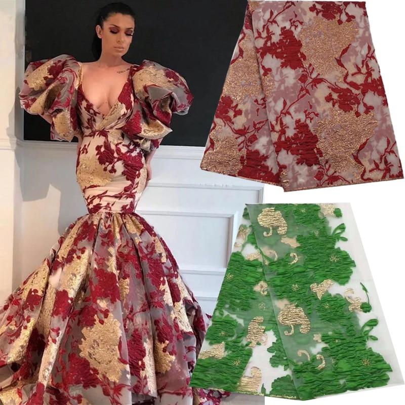 Gros africain nigéria tulle net brodé dentelle tissu couture patchwork tissus pour robe de mariée bricolage meilleure qualité 5yards