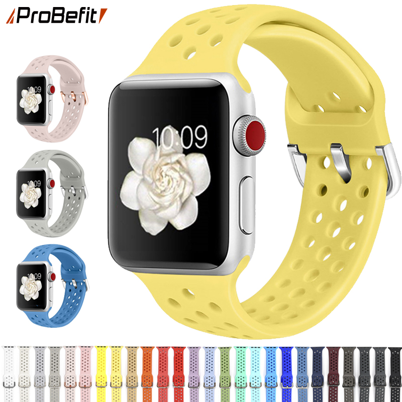 Compatible Rubber Band For Apple Watch 4 5 40mm 44mm Soft Silicone Sport Breathable Strap For IWatch Series 5 4 3 2 1 38MM 42MM