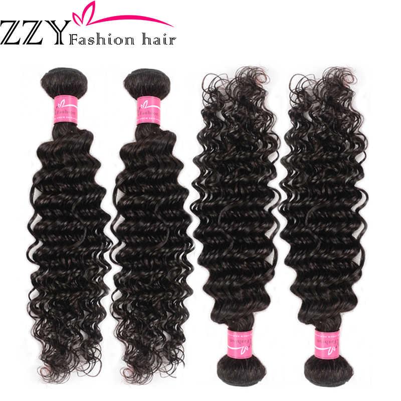 ZZY moda extensiones de cabello peruano de onda profunda Color Natural mechones de cabello humano M Ratio extensiones de cabello no Remy 4 mechones