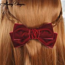 купить 2 Level Bow Hair Clip Korean Vintage Velvet Bow Barrettes Ponytail Clip Hairgrips For Women Girls Bangs Clips Hair Accessories по цене 70.99 рублей