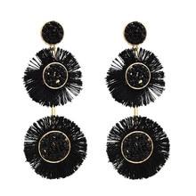 FIAZIA Bohemia Tassels Drop Earrings Women Jewelry Accessories Statement Bijou Round Dangle Earrings Measly Earring Girl Gifts цена и фото