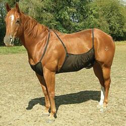 Дышащий эластичный открытый регулируемый ошейник для собак муха защитный чехол Сетка укуса удобный ковер лошадь живот анти-москитная