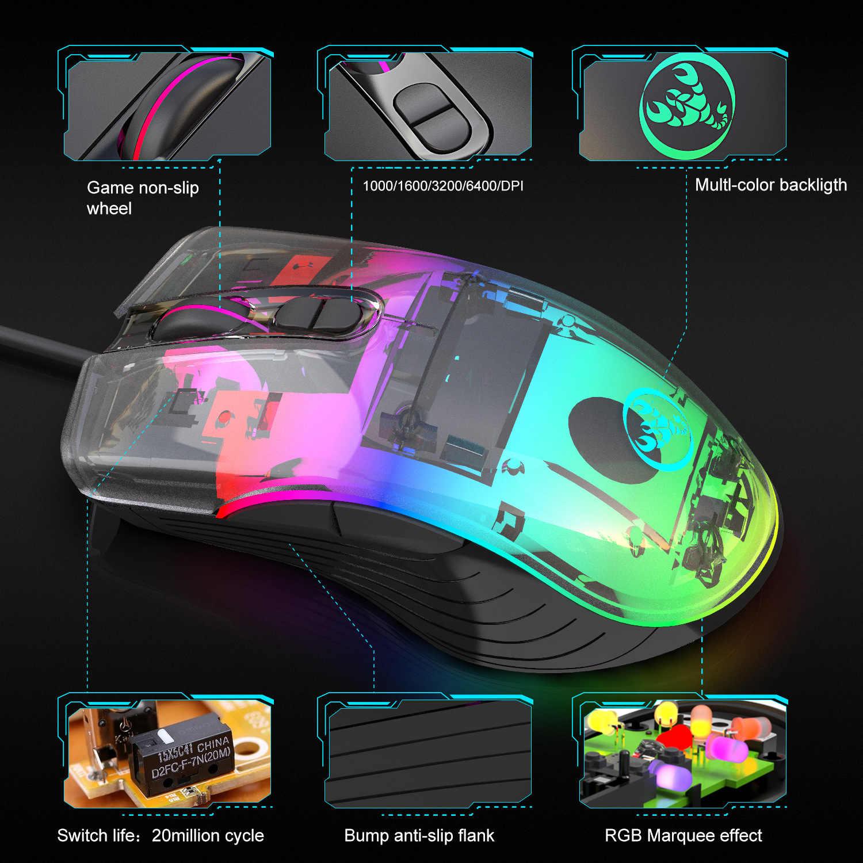 Проводная игровая мышь, 7200 dpi, программа макросъемки, профессиональные геймерские мыши, RGB Проводная оптическая мышь для ноутбука