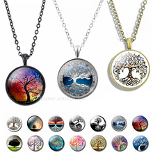 2019 Fashion Tree of Life Necklace Vintage Art Photo Pendant Glass Cabochon Jewelry Necklaces Party Gifts Dropshipping