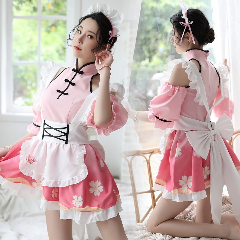 Sexy Lolita Maid Uniform Dress Porno Play Servant Sex Skirt Set ...