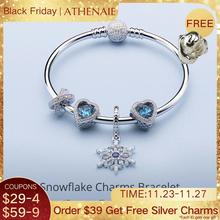 ATHENAIE 925 Sterling Silver Snowflake Charms Bracelets Bangles Fit Femme European Charm Beads Christmas Day Jewelry