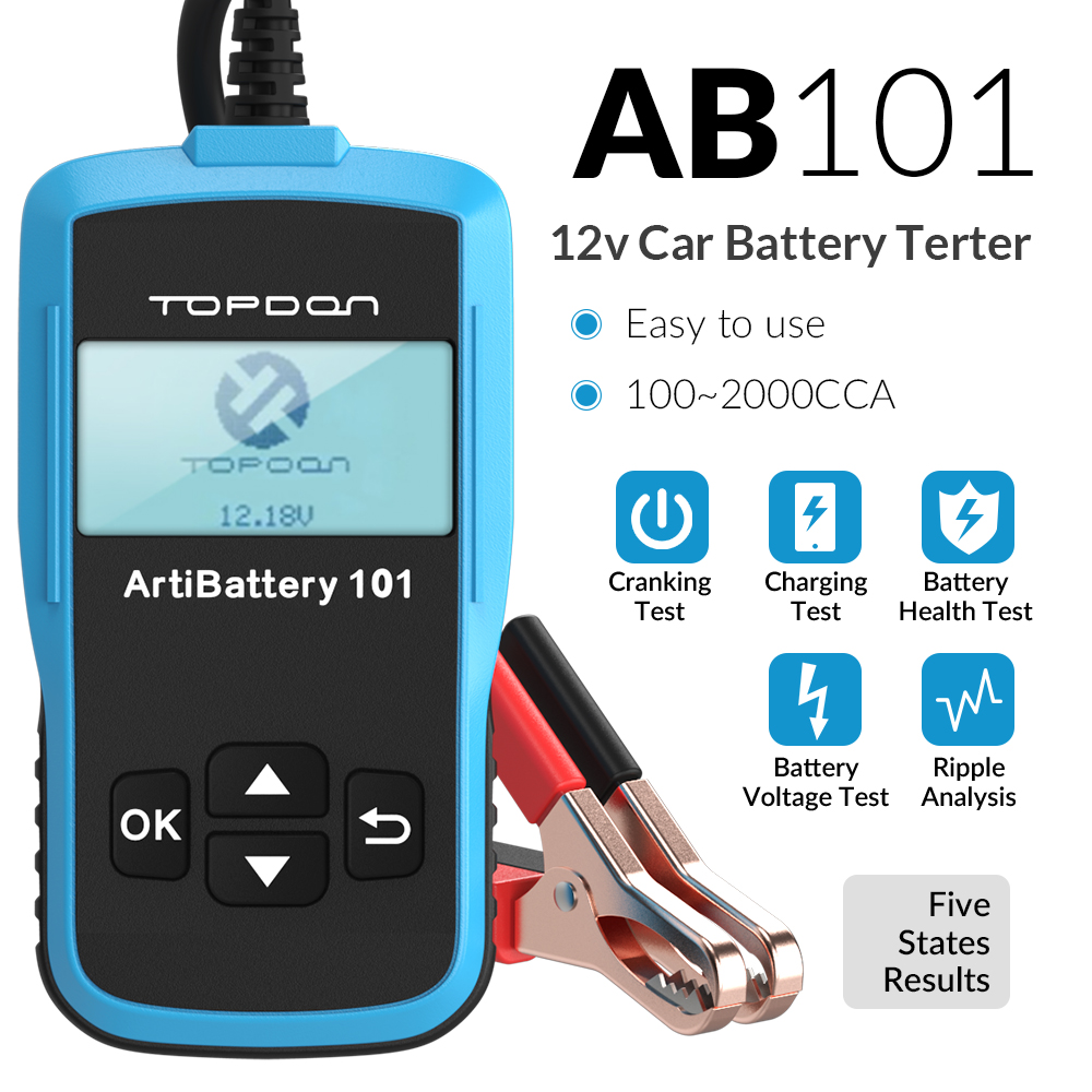 TOPDON AB101 Car Battery Tester 12V 100 to 2000CCA Voltage Tester for Car Quick Cranking Charging Battery Analyzer Diagnostic