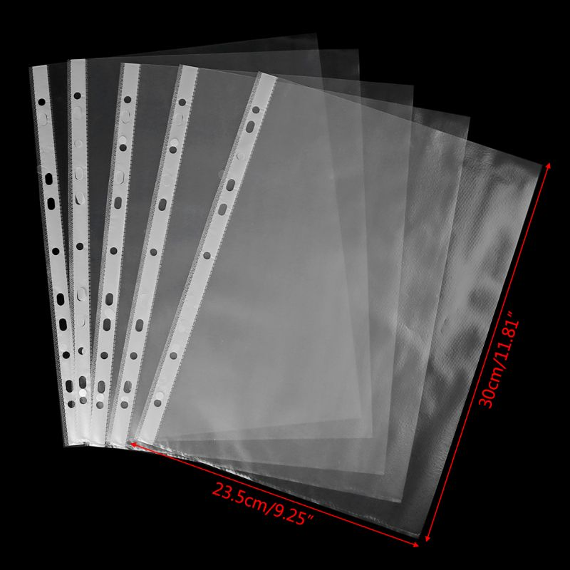 100pcs A4 Transparent Perforated File Storage Document Folder Case Bag Sleeves LX9A