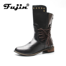 fujin 2019 New Winter Boots Women Retro Shoes Leather Boots Vintage Rivets Lace-Up mid-calf Boots zapato Quality Leather Booties(China)