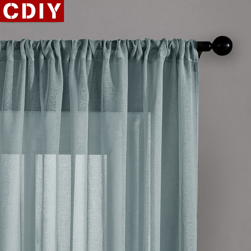 CDIY Solid White Yarn Tulle For Living Room Bedroom Kitchen Modern Sheer Curtains Linen Voile Curtains Window Screening Custom