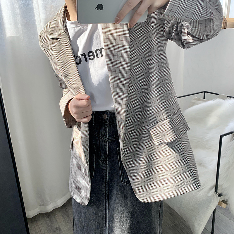 Vintage Loose Women Plaid Blazer Double Breasted Notched Collar Long Sleeve Suit Jacket Female Autumn Outwear Tops vs347