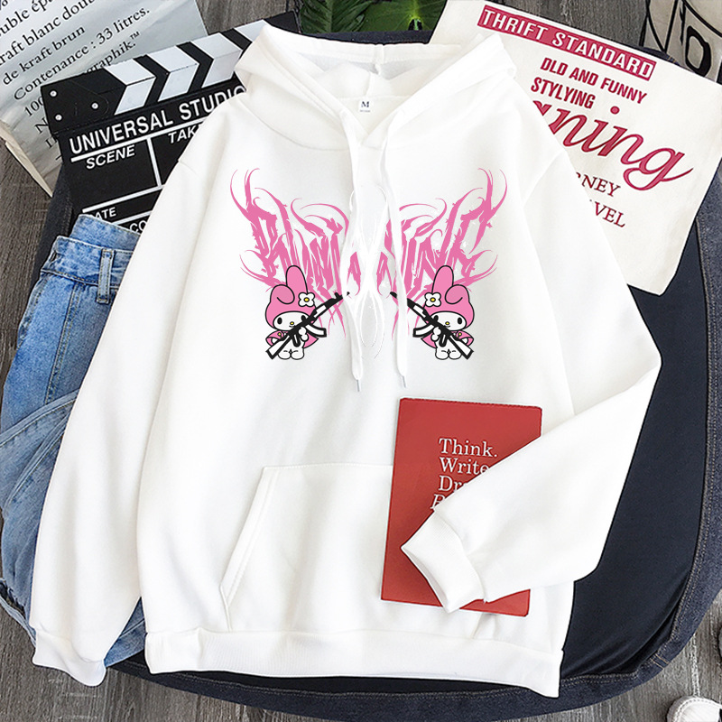 New mymelody dark women's hooded long-sleeved trendy gothic style plus cashmere winter Harajuku style hooded sweatshirt 15