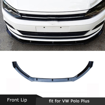 For Volkswagen VW Polo Plus Hatchback 2019 Front Lip Spoiler Splitters ABS Glossy Black Head Bumper Chin Guard Car Styling