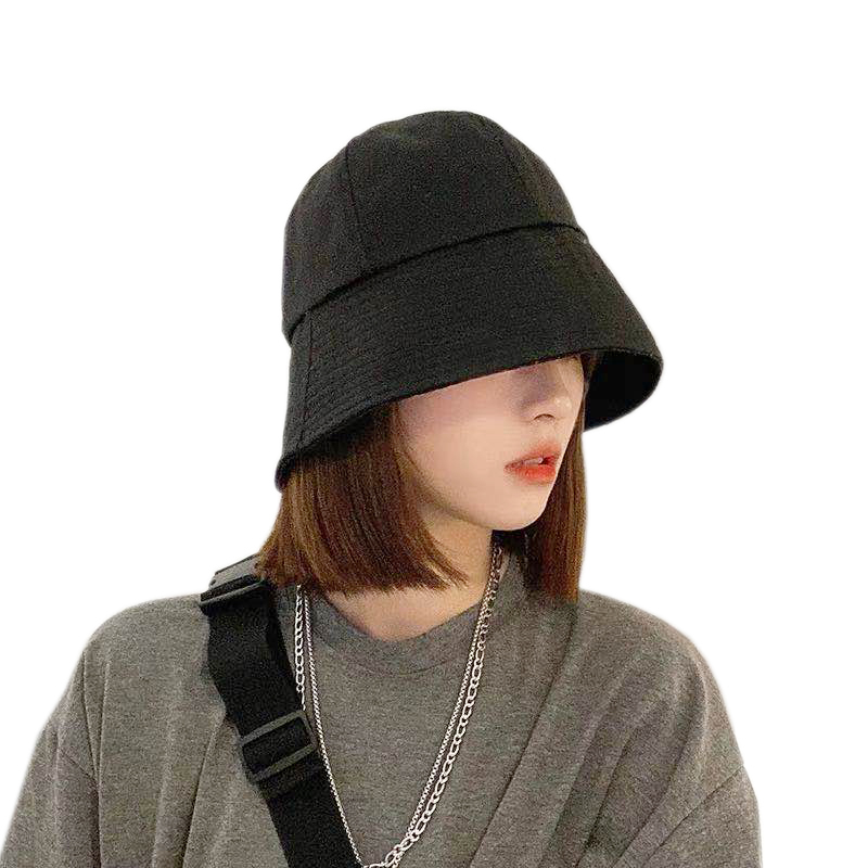 Summer Sun Hats For Women Korean Foldable Black Bucket Hat New Bell-shaped Fisherman Hat Fashion Casual Bucket Cap