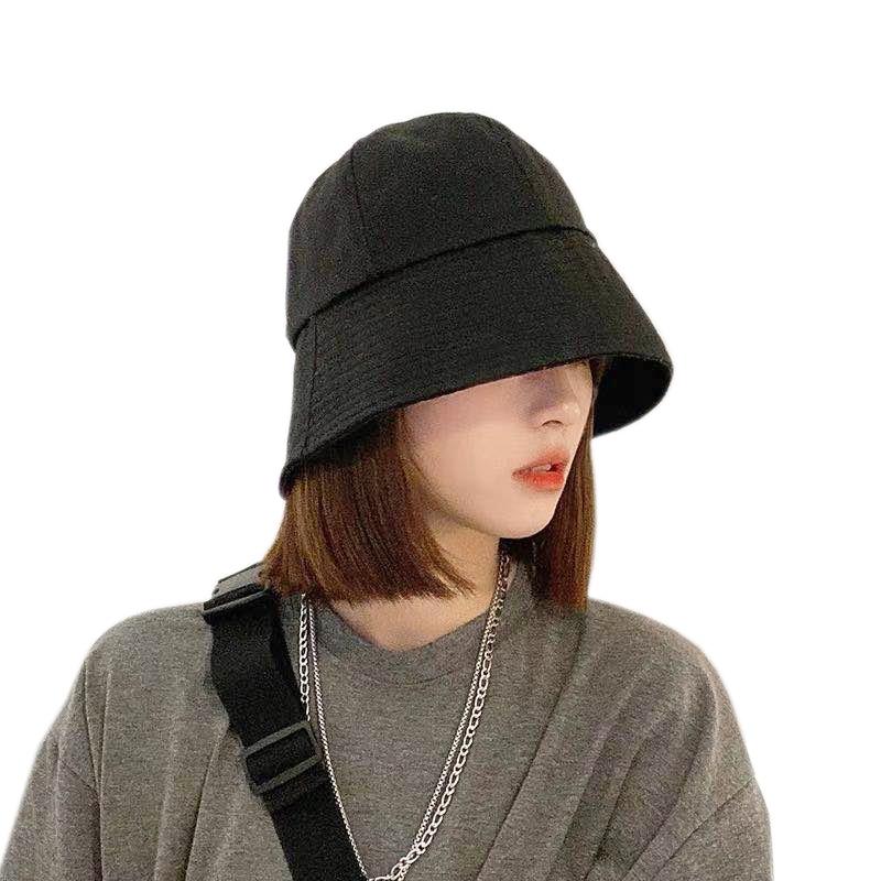 Summer Sun Hats For Women Korean Foldable Black Bucket Hat New Bell-shaped Fisherman Hat Fashion Casual Bucket Cap