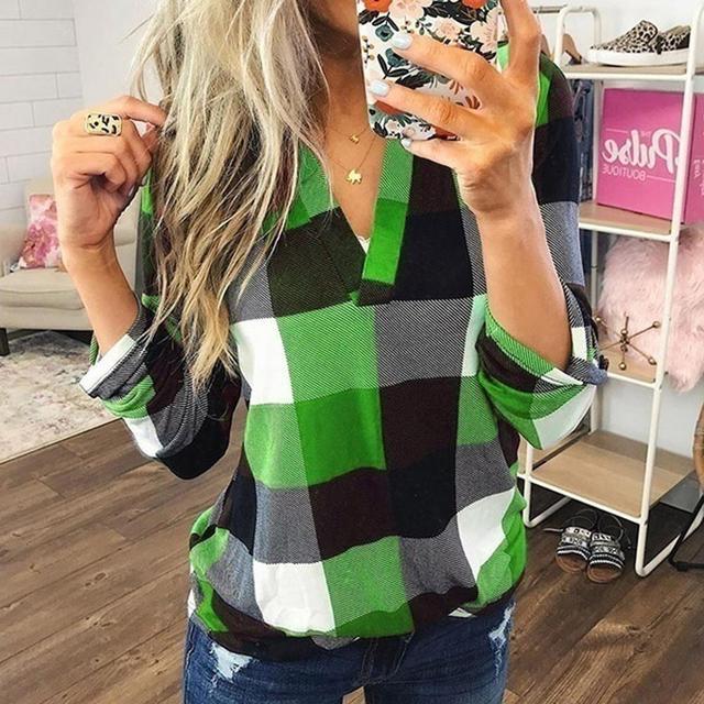 Women Tops and Blouses Plus Size Autumn Women's Plaid Blouse Shirts Sexy V Neck female blouses  Lady Business Blouse 2