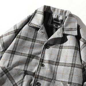 Image 5 - Мужская шерстяная клетчатая куртка Una Reta, повседневная винтажная однобортная куртка в стиле хип хоп, верхняя одежда на осень