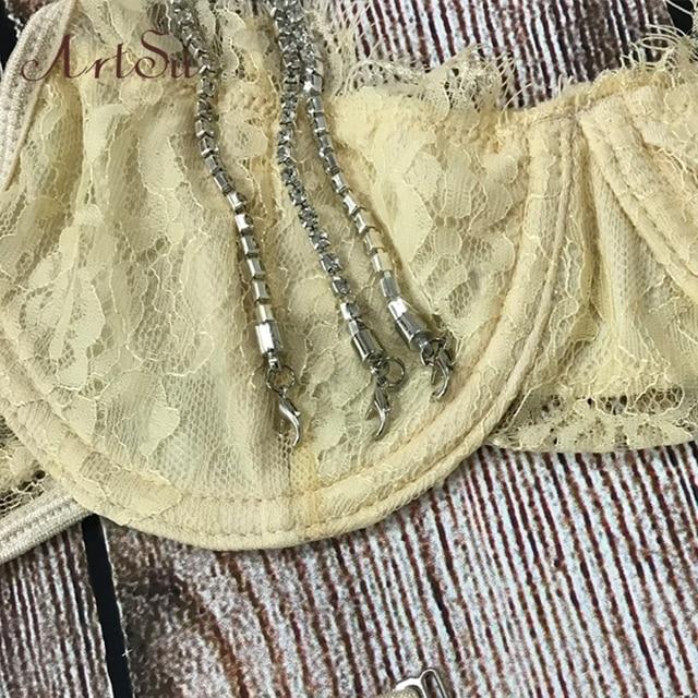 ArtSu Sparkle Chain Push Up Bra And Panty Set Women Bodycon Intimates Lingerie Set Underwear Bralette Lace Brief Set ASSU60169 5