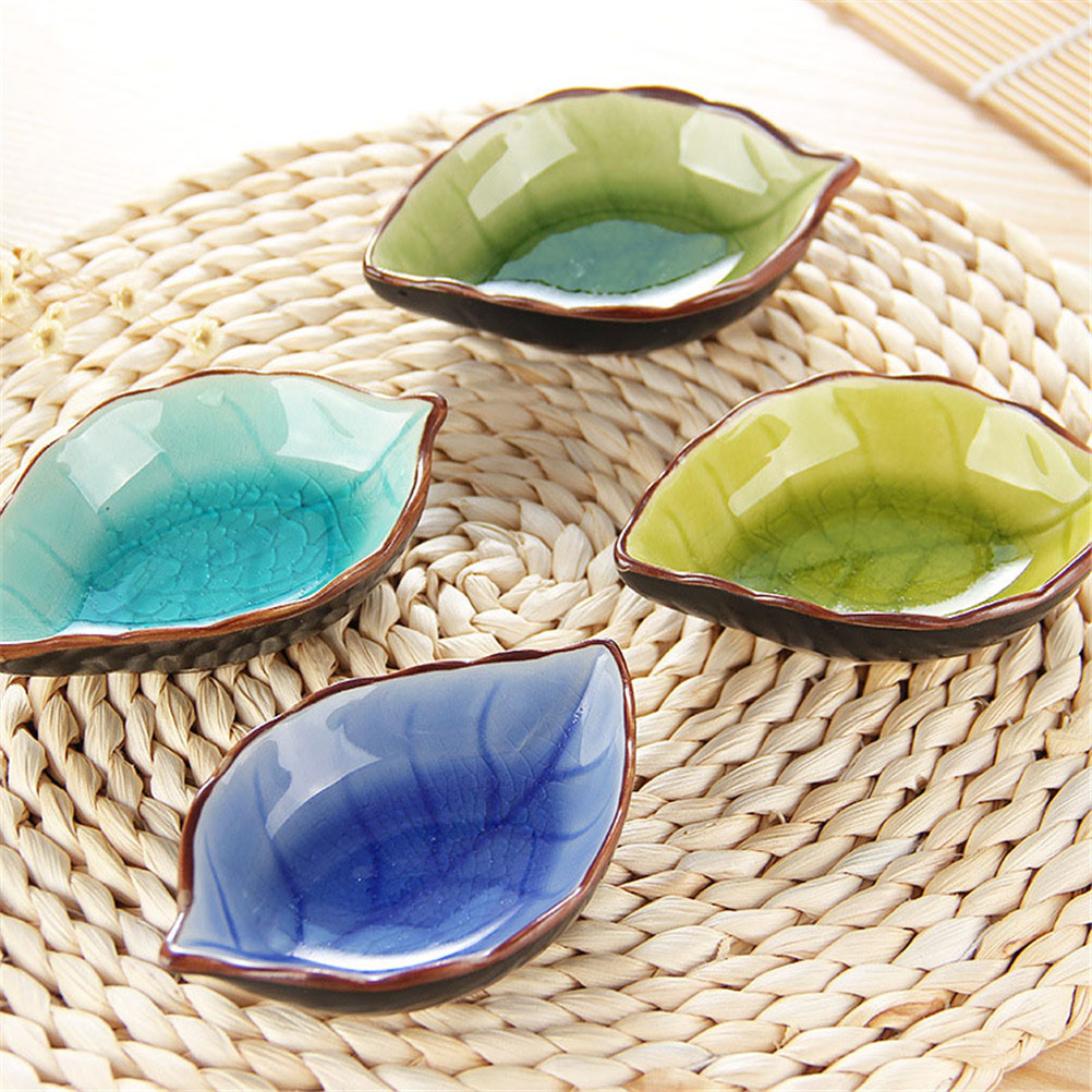 1Pcs Handcraft Leaves Ceramic Plates Kitchen Vinegar Seasoning Sauce China Dinnerware  Japanese Sushi Dishes Snacks Dish